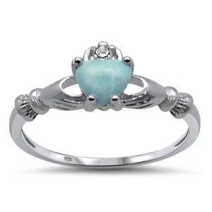 925 Sterling Silver Genuine Larimar Claddagh ring